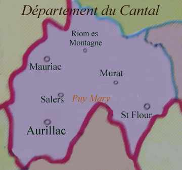 Carte du département du Cantal