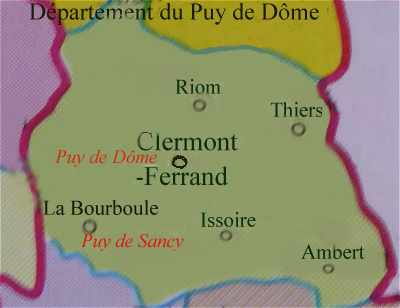 Carte du département du Puy de Dome