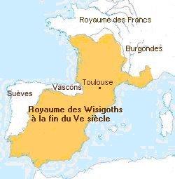 Le Royaume des Wisigoths à la fin du 5ème Siècle