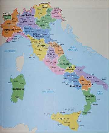 Cartes sur l'italie