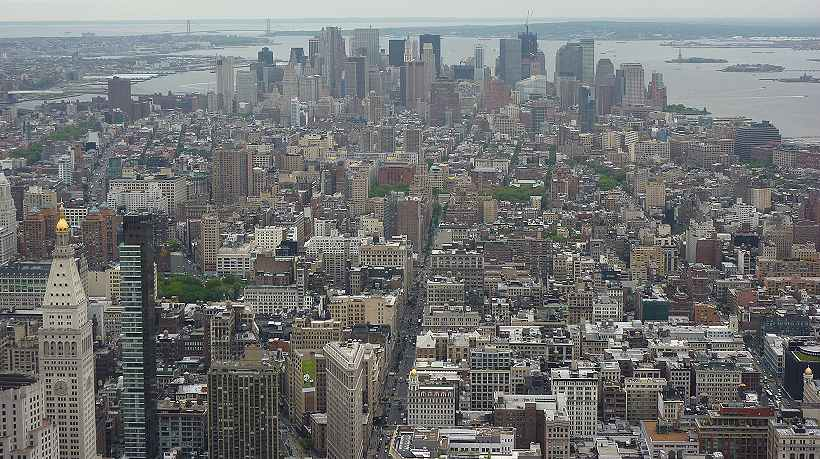 New-York: vue d'ensemble de la partie Sud du Midtown et du Lower Manhattan