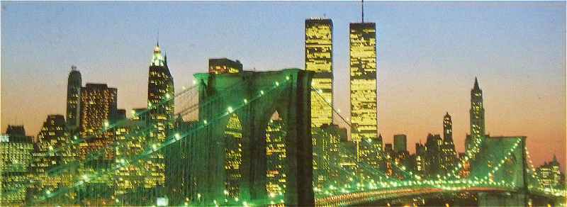 New-York: le Brooklyn Bridge et les Twin Towers en 2000
