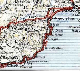 massif de l esterel carte La Corniche de l'Esterel
