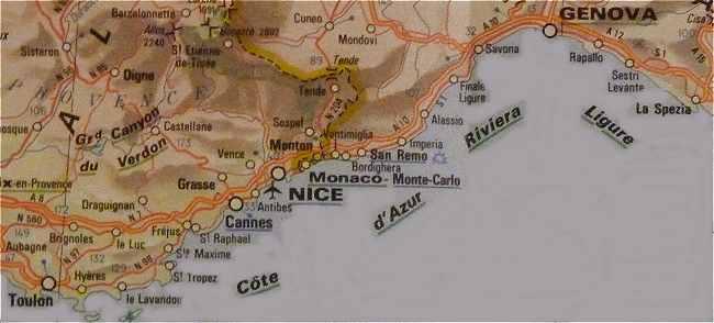 Carte Italie Ligurie.Cote D Azur Et Riviera Italienne