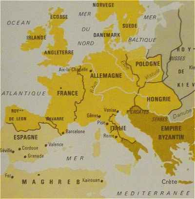 Carte Europe Xiieme Siecle.Le Moyen Age