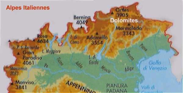 Carte Italie Montagne.Les Alpes Italiennes