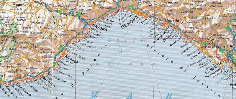 Carte Plage Italie Du Nord.Cote D Azur Et Riviera Italienne