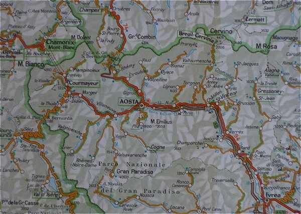 Carte Val Daoste Italie.Les Alpes Italiennes